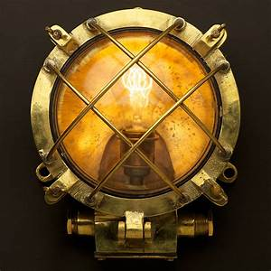 Brass Ships Round Wire Caged Bulkhead Light