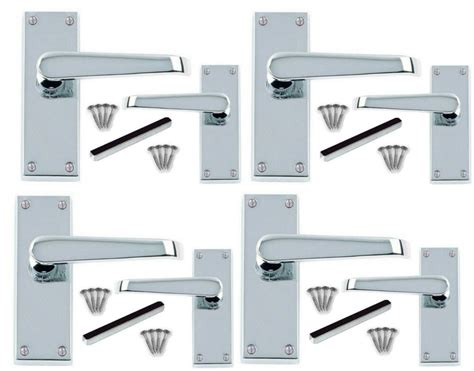 4 X Sets Polished Chrome Flat Lever Latch Door Handles