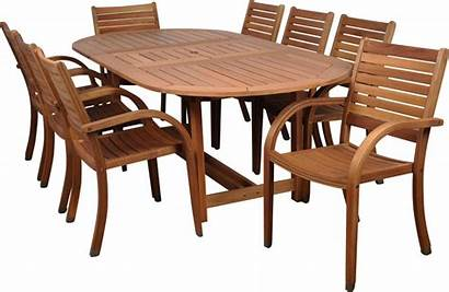 Dining Wood Oval Piece Outdoor Table Chairs