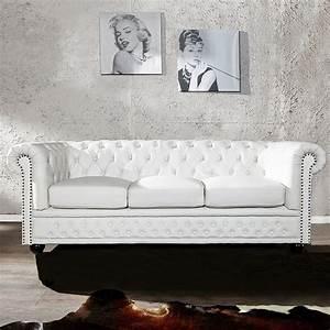 Chesterfield Sofa Weiss : edle chesterfield 3er sofa winchester weiss kunstleder chaiselounge neu ebay ~ Indierocktalk.com Haus und Dekorationen