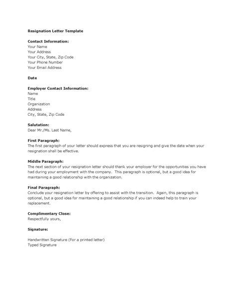 resignation letter templates madinbelgrade