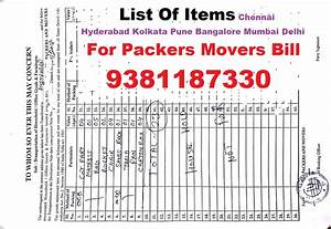 Taxi Bill Format Chennai 9380223600 100 Original Gst Packers Movers Bill For Claim