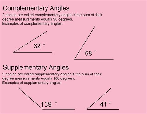 complementary and supplementary angles poster template