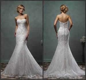 lace wedding dresses cheap exquisite 2016 amelia sposa lace trumpet wedding dresses strapless mermaid applique