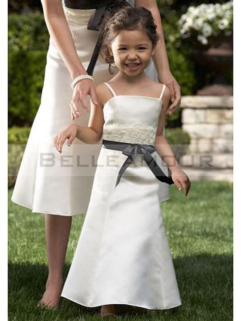 robe de demoiselle d honneur fille robe de demoiselle d honneur fille satin blanche longue ruban noeud