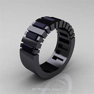 mens modern 14k black gold baguette black diamond cluster With modern mens wedding rings