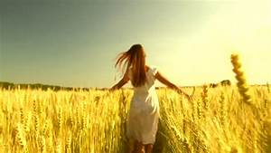 Beauty Girl Running And Spinning On Yellow Wheat Field ...
