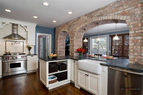 Epic Arch Kitchen Design Rustic Wide Plank Hardwood Flooring