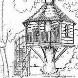 Drawing Treehouse Tree Coloring Sketch Landscape Outdoor Pages Houses Drawings Adult Living Zentangle Pyrography Garden Sketches Trees Cosy Homemade Primary sketch template