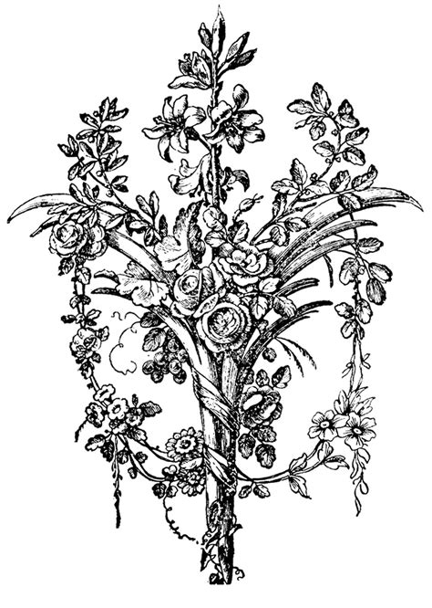 Vintage Graphic Images - French Ornaments with Roses - The