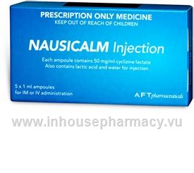 nausicalm injection mgml cyclizine   ml ampoules