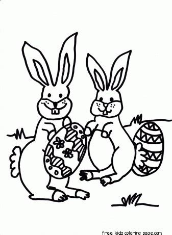 printable easter bunny hiding eggs coloring page
