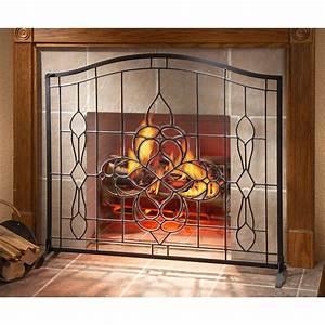 Hand, -, Cut, Beveled, Glass, Fireplace, Screen