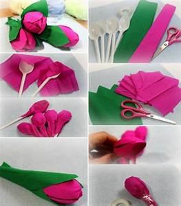 Einfache Papierblume Basteln : blumen basteln plastikl ffel tulpe kinder einfach krepppapier pink gr n3d tulpen basteln ~ Eleganceandgraceweddings.com Haus und Dekorationen