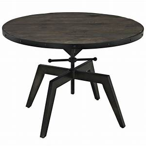 grasp industrial round pine wood coffee table with metal With black round wooden coffee table