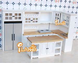 miniature dollhouse kitchen furniture iland white 1 12 dollhouse miniature diy furniture wood oak kitchen set fridge microwave oven