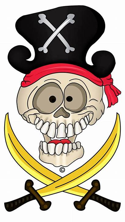 Pirate Skull Colored Swords Copyright Sample Hard