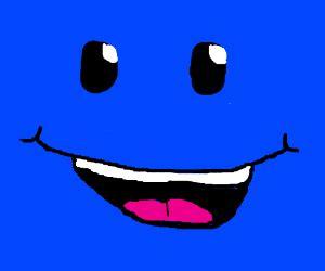 big blue square smiley face drawception