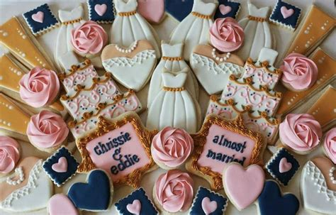 navypinkwhite gold bridal shower platter cookie