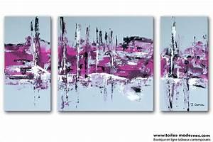 Tableau Triptyque Moderne : tableau moderne triptyque abstrait gris violet rectangle ~ Teatrodelosmanantiales.com Idées de Décoration