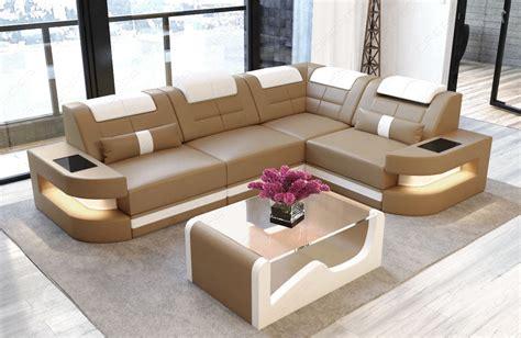 Sofa Couch Luxury Denver Lshape With Led Sandbeigewhite