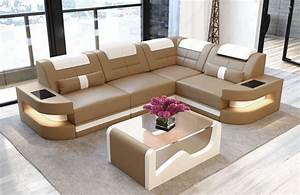 Sofa couch luxury denver l shape with led sandbeige white for Leather sectional sofa denver