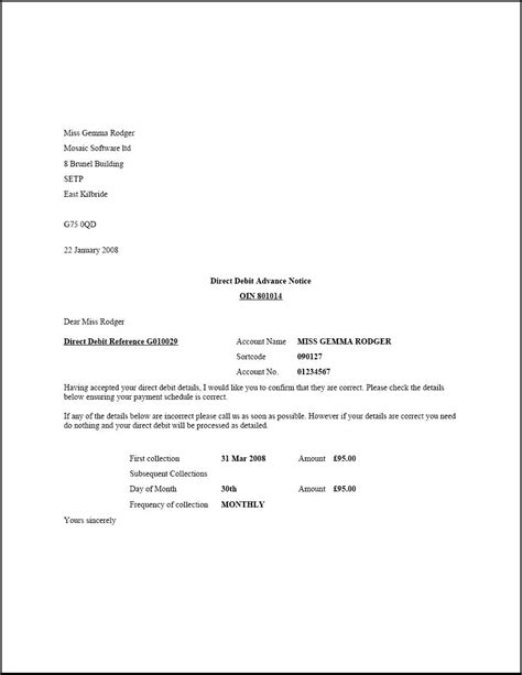 letter format   change  bank