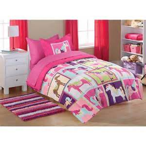 twin girls pink purple pony horse comforter sheets bed in