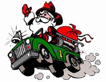 Santa Fire Christmas Clipart Engine Clip Firefighter