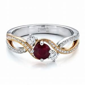 custom ruby and diamond engagement ring 100092 With ruby and diamond wedding ring
