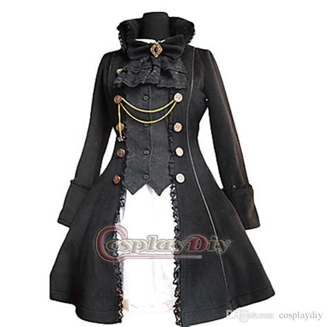 Black And White Lolita Dress Coat Outfit Vintage Gothic