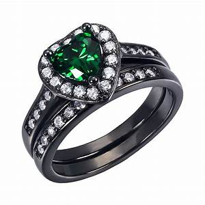 women39s created emerald heart cut sterling silver With emerald wedding rings for women