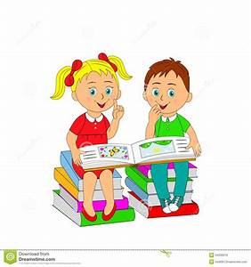 Children, A Boy And A Girl Reading A Book Sitting On A ...