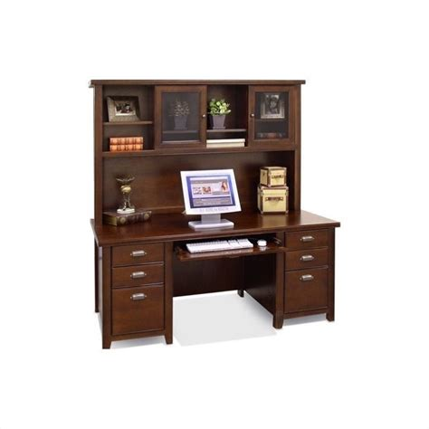 wood desk with hutch kathy ireland home by martin tribeca loft 69 quot wood