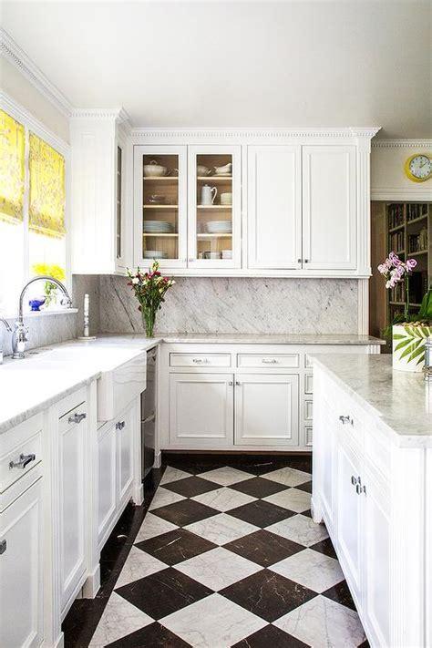 white  black harlequin kitchen floors transitional
