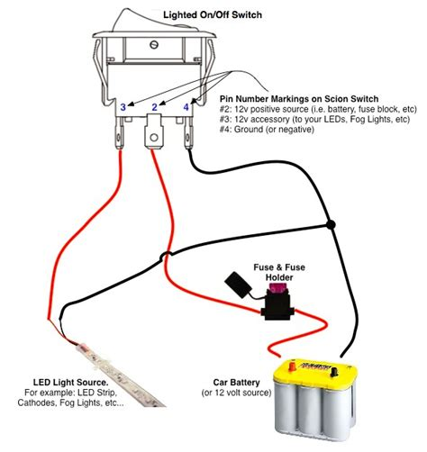 on off switch led rocker switch wiring diagrams oznium