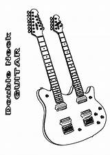 Coloring Guitar Rock Colouring Momjunction Russell Jack Neck Double Heavy sketch template