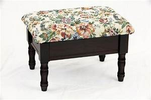 Queen Anne Style Cherry Finish Wood Footstool W Storage