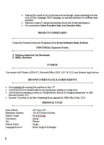 Finance Resume Sles by Mba Marketing Finance Resume Sle Doc 2 Career