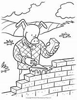 Coloring Pages Brick Pigs Three Pig Story Wall Printable Bricks Traffic Wolf Signs Template Printables Road Sign Down Getcolorings Getdrawings sketch template