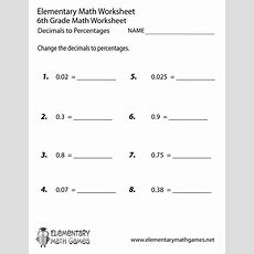 Sixth Grade Decimals To Percentages Worksheet