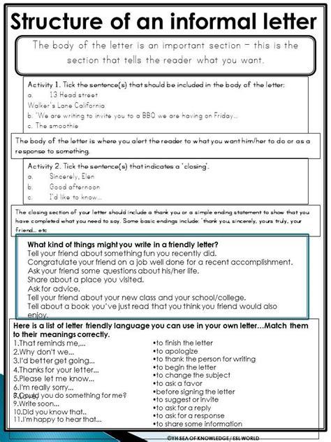 informal letter writing samples  grade  formal