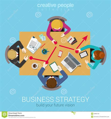 business strategy graphic report flat top table view web