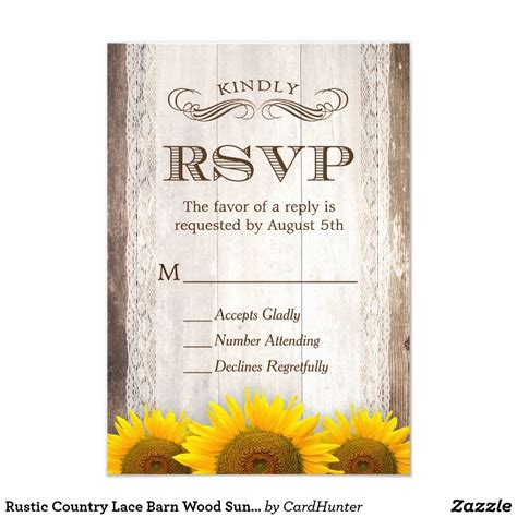 Rustic Country Lace Barn Wood Sunflower RSVP Card Zazzle