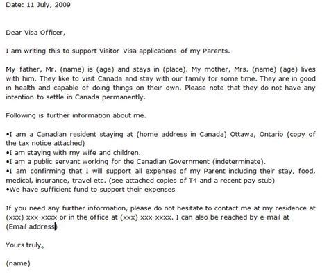 invitation letter visit visa canada sample