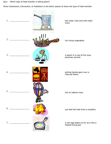 Conduction Convection Radiation Worksheet  Quiz  Conduction Convection Or Radiation Energy