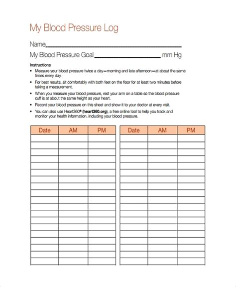 blood pressure chart sample templates   ms