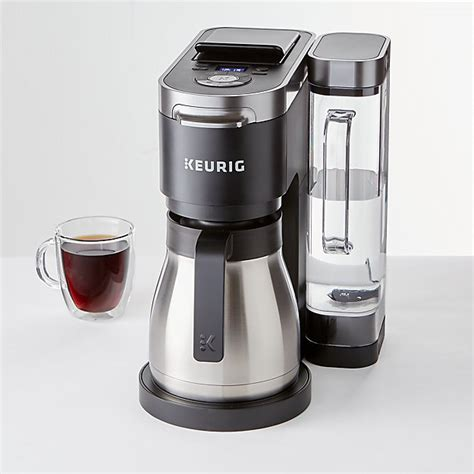 It is equipped with our new breakthrough multistream brewing technology which uses multiple streams of water to saturate the grounds more. Keurig K-Duo Plus Single-Serve and Carafe Coffee Maker + Reviews | Crate and Barrel