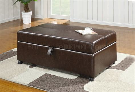 fold out ottoman bed brown vinyl modern bench ottoman w fold out sleeper