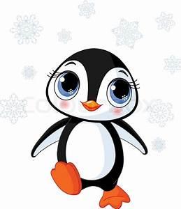 Illustration of cute winter penguin in Antarctica | Stock ...